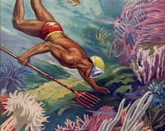 DIVING on CORAL REEF, vintage diving print, underwater life print