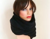 Hand Knit Black Cowl - Handmade Cowl Knit - Original Look Snood - Women Men Knitted Neck Scarf - Winter Fashion - Black Men Scarf