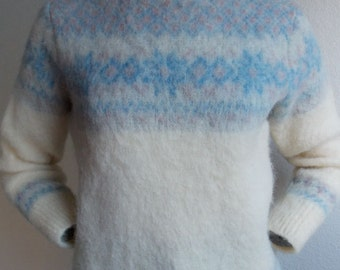 1980's Samband of Iceland - Fair Isle thick durable outdoor winter mountain snow wool knit jumper sweater - women's sz S/M