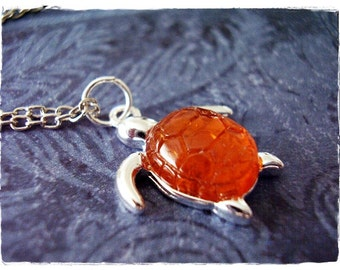 Amber Turtle Necklace - Silver Turtle with an Amber Resin Shell Charm on a Delicate Silver Plated Cable Chain or Charm Only