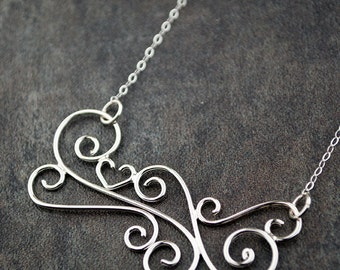 Heart necklace, sterling silver, swirl necklace, handcrafted jewelry, Love in the Wind