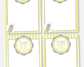 Yellow and Grey Vintage Bee PRINTABLE Thank You Cards by Love The Day