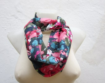 Flower Print Scarf, infinity Scarves, Floral Cowl, Circle, Loop Accessories, Fabric Neckwarmer, neck Accessories, Pink, Dark blue, Green