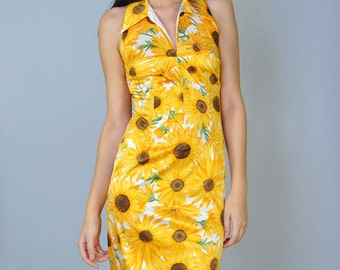 Dolce & Gabbana Sunflower Silk Halter Dress Designer Dress NWOT S M Bandage Bodycon Cocktail Sun Dress