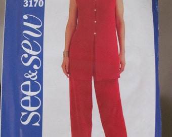 Very easy Misses Tunic a-line with side slits  and Pants elastic waist Butterick See & Sew 3170 Size 14, 16, 18 UNcut