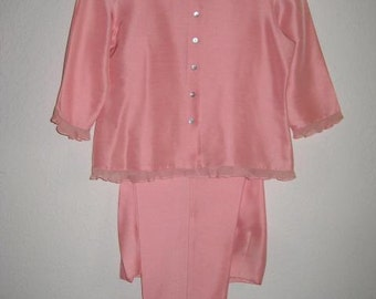 Pink Capri Set, Vintage, 100% Silk, Spencer Jeremy, Size 10 Petite
