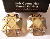 Beige Green Coral Crystal Pierced Earrings Gold Tone Vintage Geometric Lines Triangles Diamonds Squares