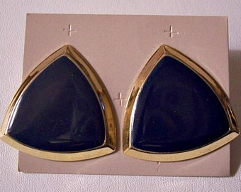 Blue Triangle Discs Pierced Post Stud Earrings Gold Tone Vintage Large Bevel Edge