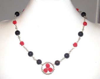 Red Rose Necklace, with Black Agate and Hand Wrapped Chain Links, PLUS Matching Earrings