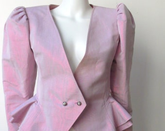 Amazing 1980's Lilac Purple Metallic Ungaro Peplum Jacket