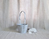 Deal of The Day!! Soft Gray Flower Girl Basket / Painted Basket / Simple Little Gray Basket for Your Flower Girl