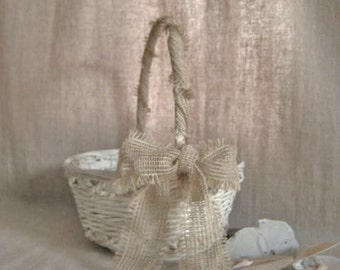 Flower Girl Basket in French Vanilla with Burlap Bow / Rustic Garden, Beach, Farmhouse Favor Basket or Program Basket