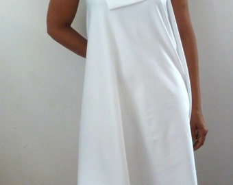 White supplex fabric dress with drape back
