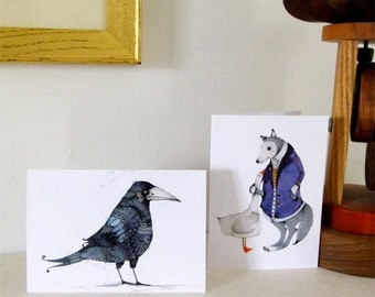 Greeting Cards with Wolf and Goose and Raven 4x6 illustrated cards