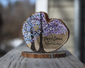 Custom colors hand painted wedding cake topper on tree branch slice with roots and live edge #2016JL05
