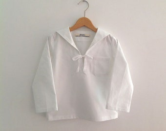 RIG-SHIRT AHOI, White, Unicolor,Children's and Babies' Sailor Shirt Long Sleeves, Sailor Collar,Wide Loose Fit, Maritime Baptism