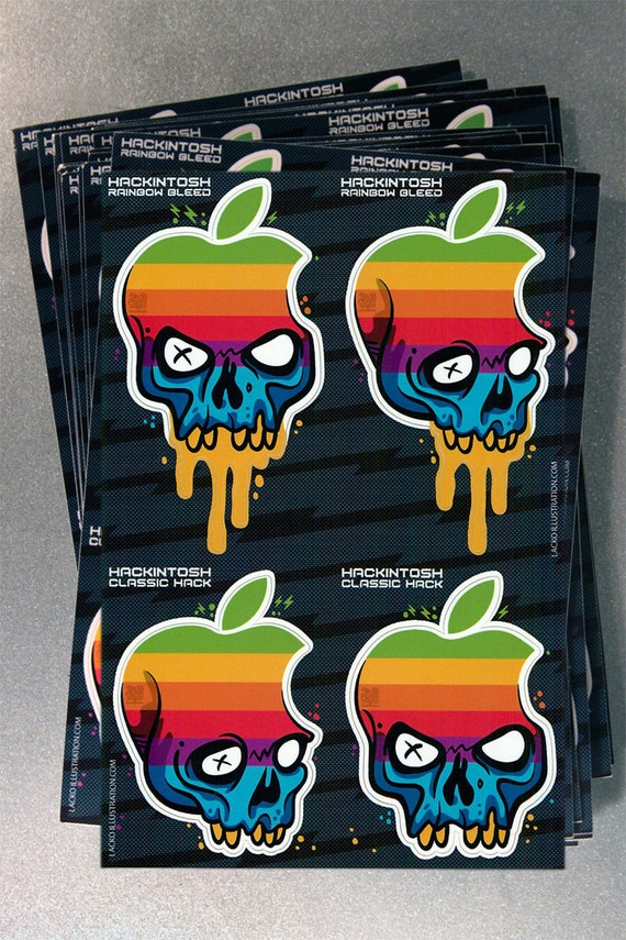 Hackintosh Apple Skull Logo Custom Mash Up  Macbook iPhone Laser Printed Stickers - Deluxe Full Sheet (4 Decals Per Set)