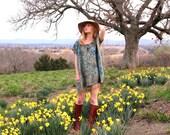 Tunic Hippie Boho Mini Dress Long Shirt Turquoise & Gold Floral Ethnic Indian Gypsy Caftan Kaftan Fringe OSFA One Size Light Silk Cashmere
