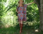 Cashmere and Silk Bohemian Kaftan Caftan Dress with Fringe in Paisley Hippie Chic One Size Fits All Adjustable Length