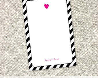 Personalized Name Blank Notepad | Hot Pink Heart with Striped Background Notepads | Things to Do Notepad