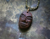 Brown Tribal African clay face Necklace on Brass woven Chain, rustic Unisex pendant