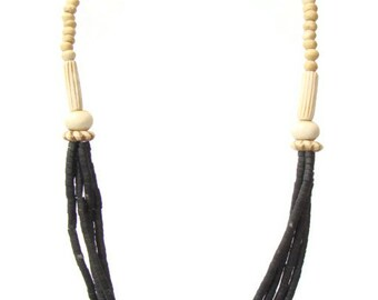 Vintage Black and Cream Beaded Boho Necklace