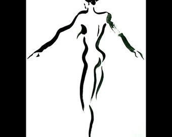 Original Sumi Figure Painting-25% OFF SALE! framed art, black & white, life drawing, brush, ink, female, nude, back, gift, home decor, Asian