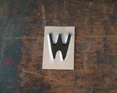 vintage industrial letter W / metal letters / letter art