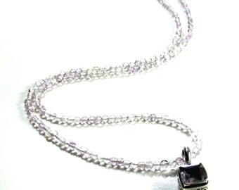 Artisan Handmade Lavender Amethyst Smooth Round Stones with Faceted Lavender Pendant in Sterling Silver
