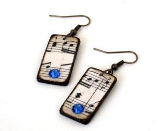 Sheet Music Dangle Earrings Decoupaged Swarovski Crystal Bohemian Fashion Boho Jewelry Sapphire Blue Crystal Drop Earrings