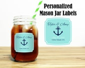 Custom Mason Jar Labels Wedding Favors Stickers Thank You Rehearsal Dinner Reception Outdoor Nautical Anchor Wedding Party Gifts MJ-1002