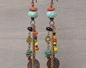 Earth Bazaar earrings: turquoise, agate, african trade beads, coins, chain