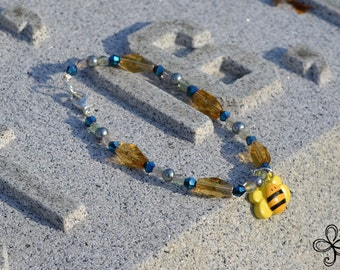 Bee Charm Bracelet (blue and gold)