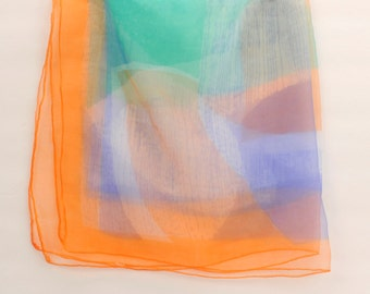 1950's Ultra Sheer Water Color Print Scarf-20% off Sale: Use code HappyNewYear20