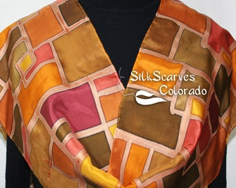 Brown, Orange, Brick Red Hand Painted Silk Scarf SUMMER FIELDS in 2 Sizes. Anniversary Gift, Mother Gift. Silk Scarves Colorado. Made in USA