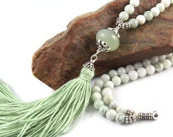 Green New Jade Mala Necklace, Gemstone Mala, Tassel Necklace, Jade Mala, Prayer Beads, Gemstone Mala Beads, Yoga Beads, Tassel Mala