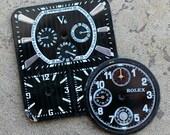 Vintage Watch Faces -- set of 2 -- D12