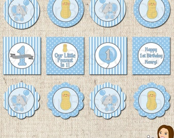 PRINTABLE Little Peanut Elephant First Birthday Boy Party Circles (Personalized) #548