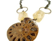 Ammonite Fossil and Citrine Nugget Necklace, Prehistoric Relic Accessory,  Organic Nautilus Shell Jewelry