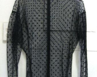 vintage In-Wear black mesh dot see through top blouse