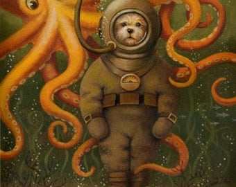 Nautical Dog Print - Victorian Diving Dog Portrait - Deep Sea Dog with Octopus - Funny Dog Art - Anthropomorphic Dog - Jules Verne