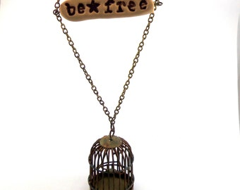 Empty Birdcage Necklace - Be Free