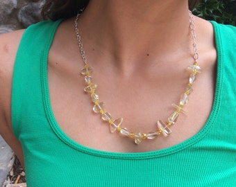 Yellow, Lemon, Quartz Gemstone Necklace