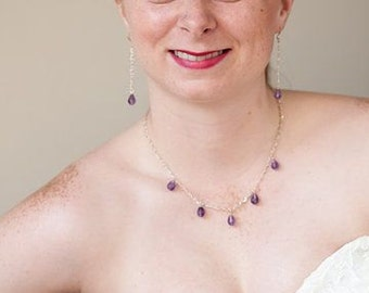 Purple Teardrop Amethyst and Silver Chain Necklace and Earring Bridal Set