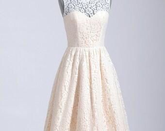 Lace wedding dress, wedding dress, bridal gown, sleeveless cotton lace