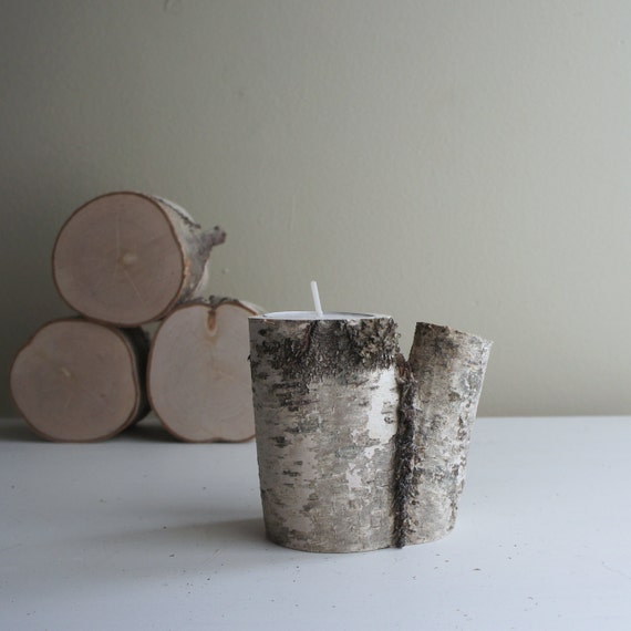 natural white birch wood candle holder - single