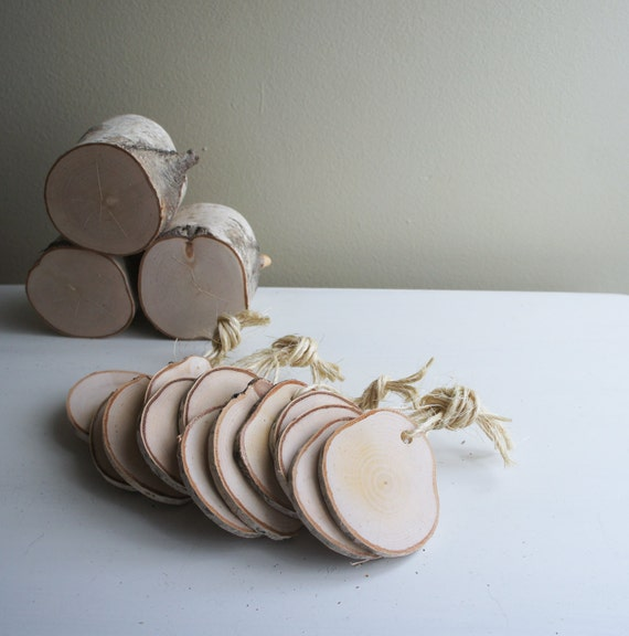 natural white birch wood tags -  set of 12