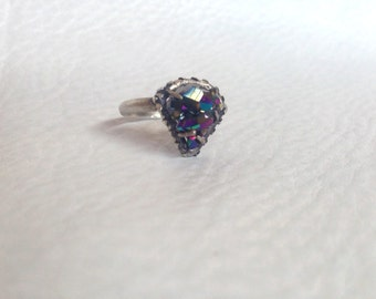 Titanium Aura Quartz Cluster Ring, in gently Oxidized Sterling Silver, Triangle motif, Spirit Guide
