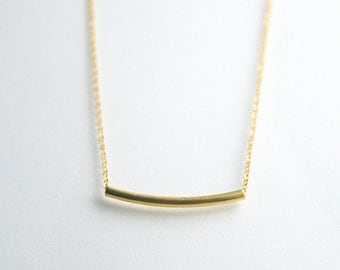 Gold, Silver tube bar necklace - GOLD or SILVER TUBE