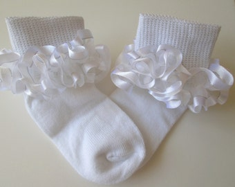 White & Silver Sheer Ruffled Ribbon Socks